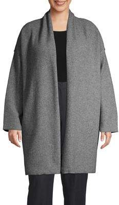 Lord & Taylor Plus Open-Front Merino Wool Cardigan