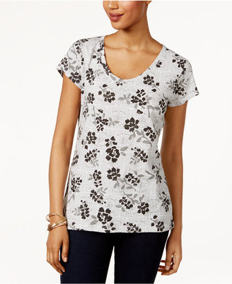 Style & Co Cotton Printed T-Shirt, Only at Macy's $12.98 thestylecure.com