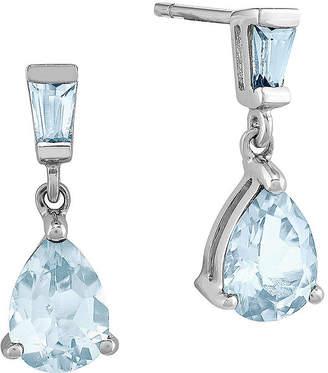 FINE JEWELRY Genuine Aquamarine 14K White Gold Post Dangle Earrings