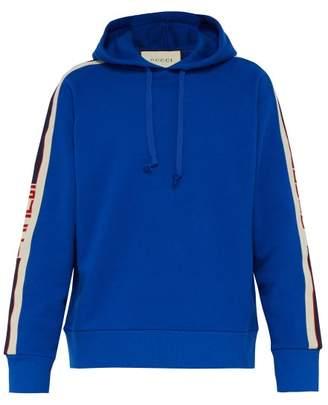 Gucci Logo Tape Cotton Hooded Sweatshirt - Mens - Blue