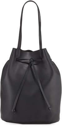 Steven Alan Dylan Smooth Leather Drawstring Tote Bag, Black
