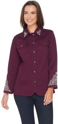 Factory Quacker Scroll Embellished Woven Jacket