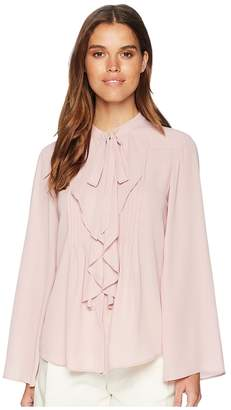 Tahari ASL Bow Blouse with Pleated Front Women's Clothing