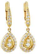 Small 18k Gold Prong Diamond Pear Drop Earrings