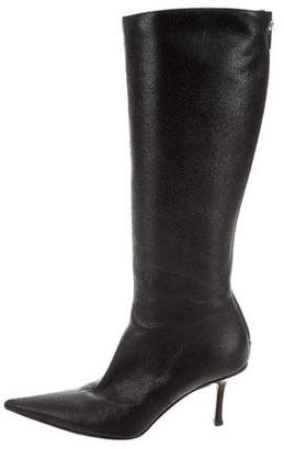 Stuart Weitzman Leather Pointed-Toe Knee-High Boots