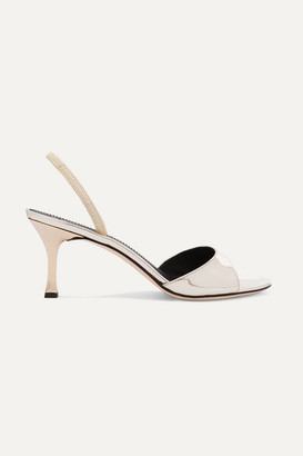 Giuseppe Zanotti Metallic Leather Slingback Sandals - Platinum
