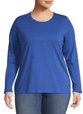 Lord & Taylor Plus Crewneck Pull-On Style Top