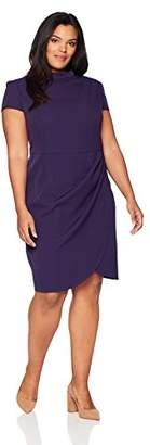 Lark & Ro Women's Plus Size Mock Neck Ruched Dress