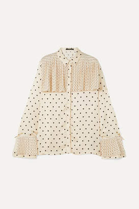 Mother of Pearl Jasper Pleated Polka-dot Satin Shirt - Ivory
