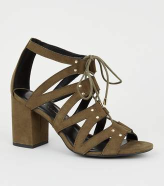 New Look Wide Fit Lace Up Ghillie Block Heels