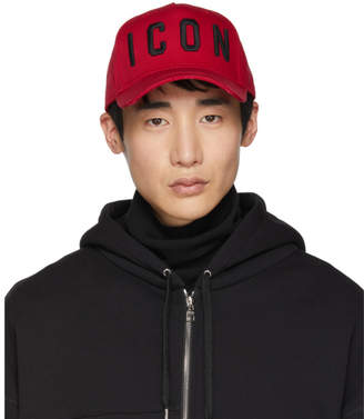 9864a3efaaf7c DSQUARED2 Red and Black Icon Baseball Cap