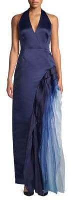 Halston Ombre Ruffle Halter Gown
