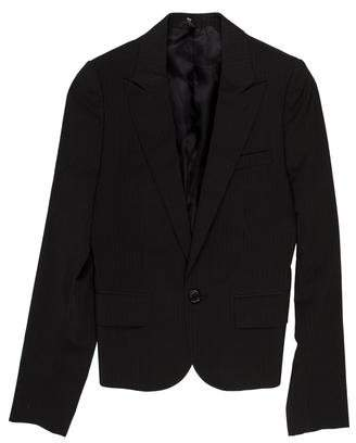 Christian Dior Peite Taille Striped Cropped Wool Blazer