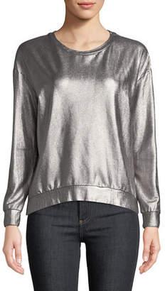 Neiman Marcus Majestic Paris for Long-Sleeve Metallic Pullover Sweater