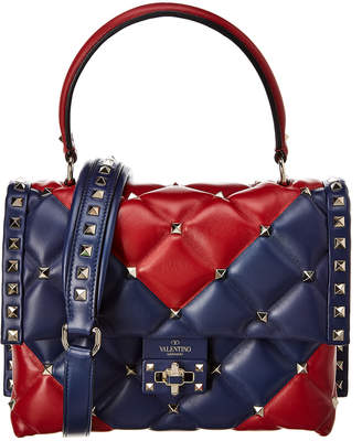 Valentino Candystud V Inlay Leather Top Handle Satchel
