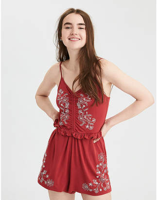 American Eagle AE Knit Scrunch Front Embroidered Romper