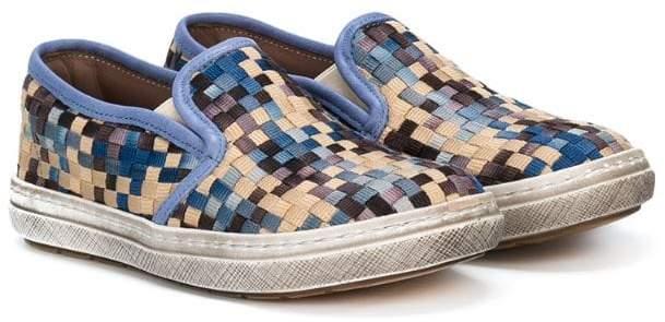 woven lattice slip-on sneakers