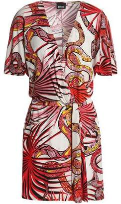 Just Cavalli Wrap-Effect Twist-Front Printed Stretch-Jersey Mini Dress