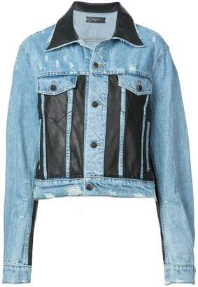 Amiri faux leather panelled denim jacket