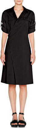 Tomas Maier Sporty Poplin Wrap Dress, Black