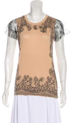 Valentino Lace-Trimmed Short Sleeve T-Shirt