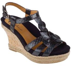 Earthies Corsica Cork-Wrapped & Snake-Embossed Leather Wedge Sandals