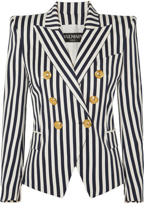 Balmain Double-breasted Striped Cotton-twill Blazer - Navy
