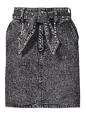 Sandro Women's Fredie Studded Denim Skirt