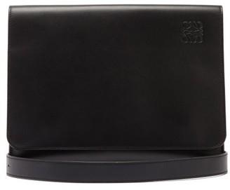Loewe Cross Body Flat Leather Messenger Bag - Mens - Black