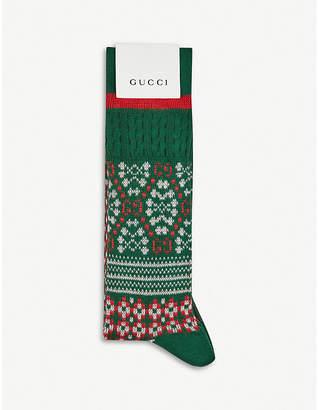 Gucci Fair Isle jacquard cotton-knitted socks