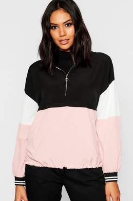 boohoo Woven Colour Block Ring Puller Hooded Sweat