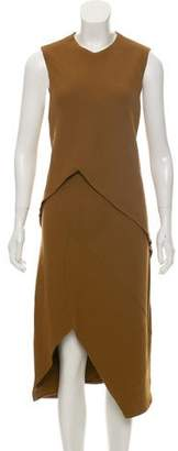 Narciso Rodriguez Wool-Blend Layered Sheath Midi Dress w/ Tags