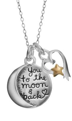 Love You To The Moon & Back Two Tone Sterling Silver Moon & Shooting Star Heart Pendant Necklace