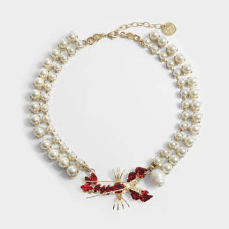 Anton Heunis Pearl and Lobster Choker in Pearl, Gold and Red Metal