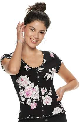 Candies Juniors' Candie's Snap-Front Floral Top
