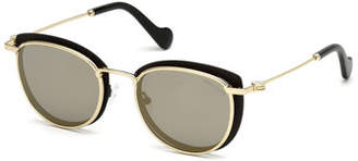 Moncler Metal Cat-Eye Mirrored Sunglasses, Black/Gold