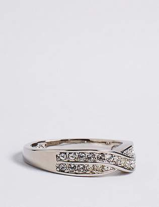 Marks and Spencer Platinum Plated Double Crossover Diamanté Ring