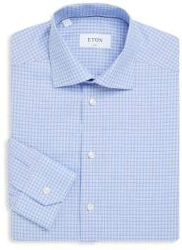 Eton Gingham Slim-Fit Cotton Dress Shirt