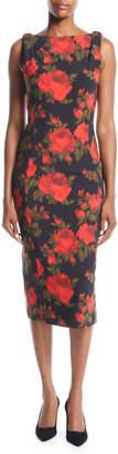 Michael Kors Sleeveless Floral-Print Midi Sheath Dress