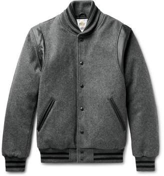 GoldenBear Golden Bear Leather-Panelled Mélange Virgin Wool-Blend Bomber Jacket