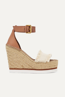 See by Chloe Leather And Canvas Espadrille Wedge Sandals - White