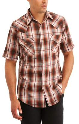 Plains Men's Short Sleeve Textured Plaids Shirt
