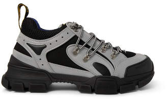 Gucci Flashtrek Reflective Rubber, Leather And Mesh Sneakers - Silver