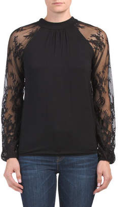 Mock Neck Blouson Top With Lace Sleeves