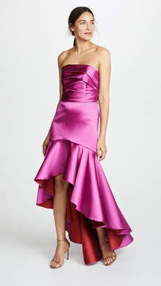 Marchesa Strapless High Low Gown