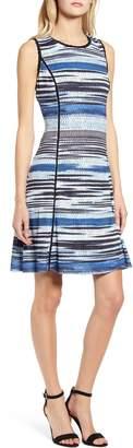 Karl Lagerfeld Paris Stripe Crochet Fit & Flare Dress