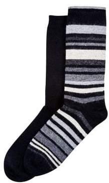 Hue 2-Pack Flat Knit Striped Boot Socks