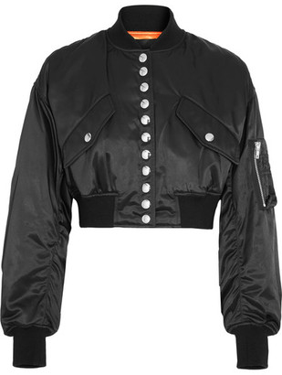 Alexander Wang - Cropped Satin Bomber Jacket - Black $850 thestylecure.com