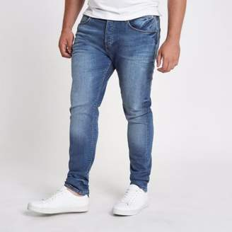 River Island Big and Tall mid blue wash Sid skinny jeans