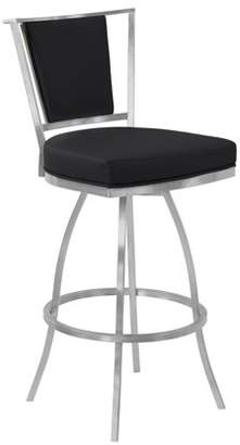 Armen Living Delhi Metal Swivel Barstool in Black Faux Leather with Brushed Stainless Steel Finish and Gray Walnut Back